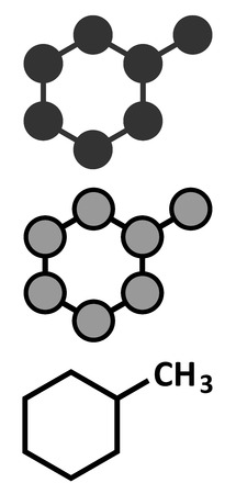 solvent: Methylcyclohexane solvent molecule. Stylized 2D renderings and conventional skeletal formula.