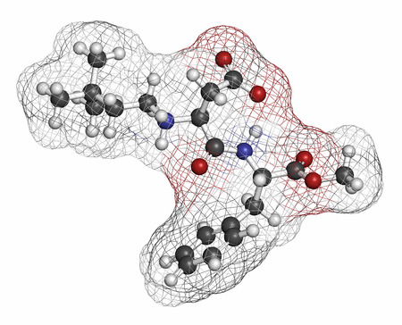 methanol: Neotame (E961) sugar substitute molecule. Atoms are represented as spheres with conventional color coding: hydrogen (white), carbon (grey), oxygen (red), nitrogen (blue). Stock Photo