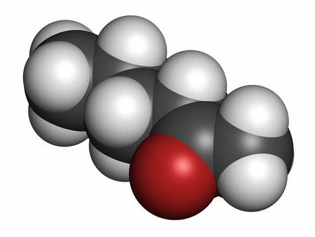 methyl: Methyl butyl ketone (MBK, 2-hexanone) solvent molecule. Atoms are represented as spheres with conventional color coding: hydrogen (white), carbon (grey), oxygen (red).