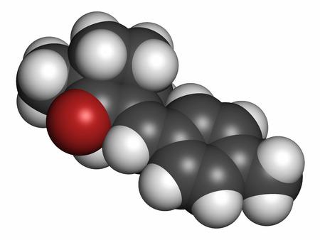 hidrogeno: Mol�cula de protector solar Enzacamene (filtro UV). Los �tomos se representan como esferas con codificaci�n de colores convencionales: hidr�geno (blanco), carb�n (gris), ox�geno (rojo). Foto de archivo