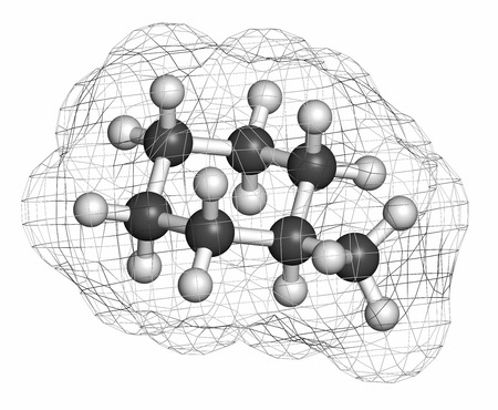hydrocarbon: Methylcyclohexane solvent molecule. Atoms are represented as spheres with conventional color coding: hydrogen (white), carbon (grey).
