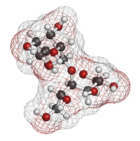 caloric: Maltitol sugar alcohol sweetener molecule. Atoms are represented as spheres with conventional color coding: hydrogen (white), carbon (grey), oxygen (red).