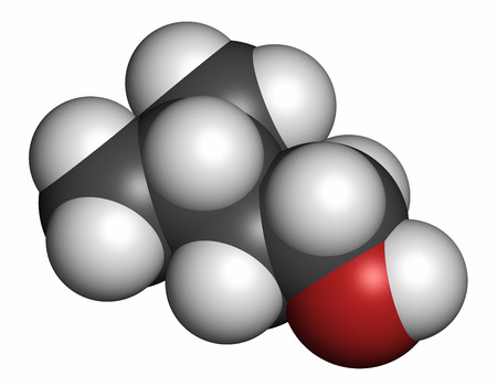 vegetable carbon: Isoamyl alcohol molecule. Atoms are represented as spheres with conventional color coding: hydrogen (white), carbon (grey), oxygen (red).
