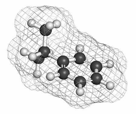 hidrogeno: El cumeno (isopropilbenceno) mol�cula de hidrocarburo arom�tico. Los �tomos se representan como esferas con codificaci�n de colores convencionales: hidr�geno (blanco), carb�n (gris).