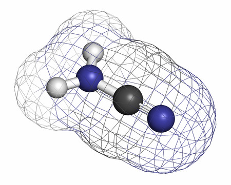 amine: Cyanamide molecule. Used in agriculture and chemical synthesis. Atoms are represented as spheres with conventional color coding: hydrogen (white), carbon (grey), nitrogen (blue). Stock Photo