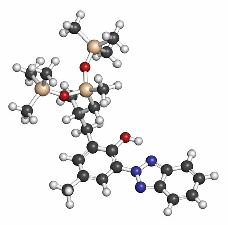 silicium: Drometrizole trisiloxane sunscreen molecule (UV filter). Atoms are represented as spheres with conventional color coding: hydrogen (white), carbon (grey), oxygen (red), nitrogen (blue), silicon (beige).