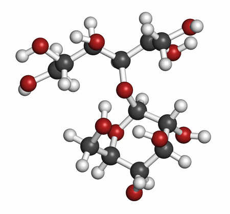prebiotic: Lactitol sweetener and laxative molecule. Atoms are represented as spheres with conventional color coding: hydrogen (white), carbon (grey), oxygen (red). Stock Photo