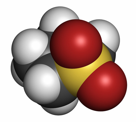 solvent: Sulfolane industrial solvent molecule. Atoms are represented as spheres with conventional color coding: hydrogen (white), carbon (grey), oxygen (red), sulfur (yellow).