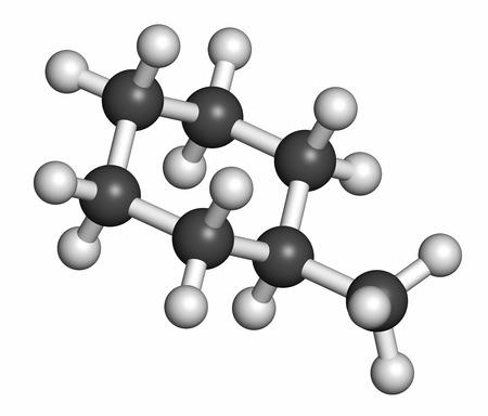 hidrogeno: Mol�cula de disolvente metilciclohexano. Los �tomos se representan como esferas con codificaci�n de colores convencionales: hidr�geno (blanco), carb�n (gris).