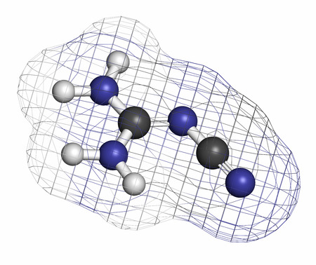 hydrogen bomb: Dicyandiamide (2-cyanoguanidine, DCD) molecule. Used as fertilizer and in chemical synthesis. Atoms are represented as spheres with conventional color coding: hydrogen (white), carbon (grey), nitrogen (blue).