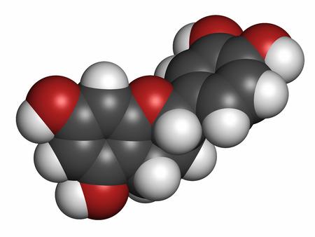 hidrogeno: La epicatequina (l-epicatequina) de chocolate mol�cula de flavonoide. Los �tomos se representan como esferas con codificaci�n de colores convencionales: hidr�geno (blanco), carb�n (gris), ox�geno (rojo).
