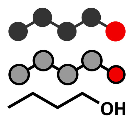 solvent: n-butanol (1-butanol) molecule. Used as flavouring and as a solvent. Stylized 2D renderings and conventional skeletal formula. Stock Photo
