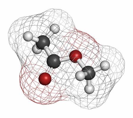 hidr�geno: El acetato de metilo mol�cula de disolvente. Los �tomos se representan como esferas con codificaci�n de colores convencionales: hidr�geno (blanco), carb�n (gris), ox�geno (rojo). Foto de archivo