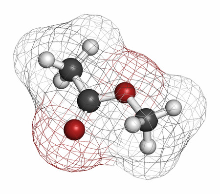 acetic: Methyl acetate solvent molecule. Atoms are represented as spheres with conventional color coding: hydrogen (white), carbon (grey), oxygen (red).