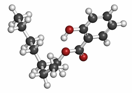 salicylate: Octyl salicylate (octisalate) sunscreen molecule (UV filter). Atoms are represented as spheres with conventional color coding: hydrogen (white), carbon (grey), oxygen (red).