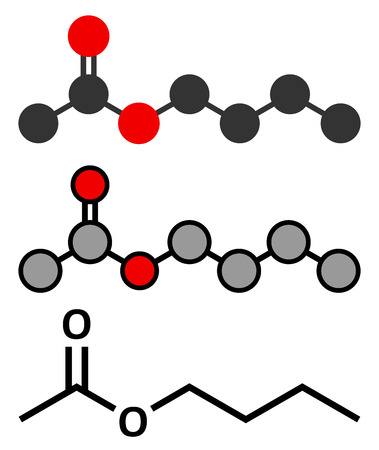 acetate: Butyl acetate molecule. Used as synthetic fruit flavoring and as organic solvent. Stylized 2D renderings and conventional skeletal formula.