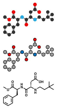 substitute: Neotame (E961) sugar substitute molecule. Stylized 2D renderings and conventional skeletal formula.