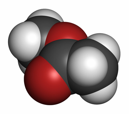 hidrogeno: El acetato de metilo mol�cula de disolvente. Los �tomos se representan como esferas con codificaci�n de colores convencionales: hidr�geno (blanco), carb�n (gris), ox�geno (rojo). Foto de archivo