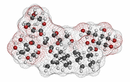 aftertaste: Rebaudioside A molecule. One of the main steviol glycosides found in stevia plants, used as sweetener. Atoms are represented as spheres with conventional color coding: hydrogen (white), carbon (grey), oxygen (red).