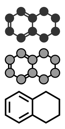 solvent: Tetralin solvent molecule. Stylized 2D renderings and conventional skeletal formula.