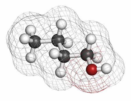 flavouring: n-butanol (1-butanol) molecule. Used as flavouring and as a solvent. Atoms are represented as spheres with conventional color coding: hydrogen (white), carbon (grey), oxygen (red).