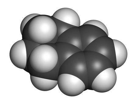 hidr�geno: Tetralina mol�cula de disolvente. Los �tomos se representan como esferas con codificaci�n de colores convencionales: hidr�geno (blanco), carbono (gris). Foto de archivo