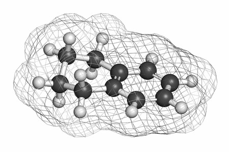 solvent: Tetralin solvent molecule. Atoms are represented as spheres with conventional color coding: hydrogen (white), carbon (grey).
