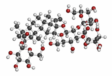 glycemic: Rebaudioside A molecule. One of the main steviol glycosides found in stevia plants, used as sweetener. Atoms are represented as spheres with conventional color coding: hydrogen (white), carbon (grey), oxygen (red).
