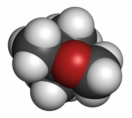 methyl: Methyl tert-butyl ether (MTBE, tBME) gasoline additive molecule. Atoms are represented as spheres with conventional color coding: hydrogen (white), carbon (grey), oxygen (red). Stock Photo