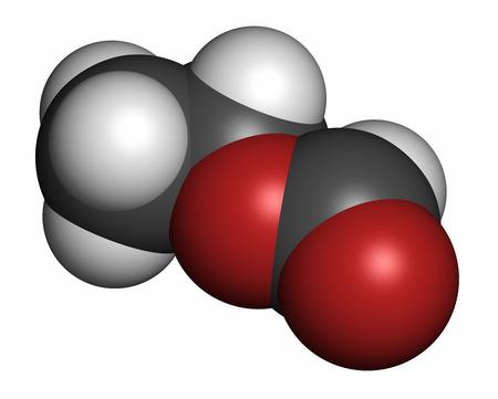 hidr�geno: Formiato de etilo (metanoato etil) mol�cula. Los �tomos se representan como esferas con codificaci�n de colores convencionales: hidr�geno (blanco), carb�n (gris), ox�geno (rojo).