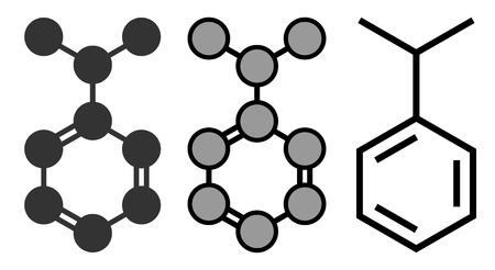 carcinogen: Cumene (isopropylbenzene) aromatic hydrocarbon molecule. Stylized 2D renderings and conventional skeletal formula.