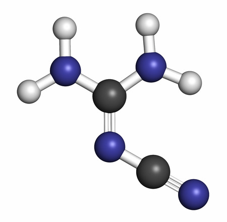 epoxy: Dicyandiamide (2-cyanoguanidine, DCD) molecule. Used as fertilizer and in chemical synthesis. Atoms are represented as spheres with conventional color coding: hydrogen (white), carbon (grey), nitrogen (blue).