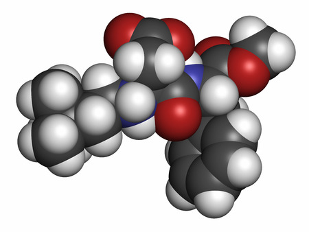 substitute: Neotame (E961) sugar substitute molecule. Atoms are represented as spheres with conventional color coding: hydrogen (white), carbon (grey), oxygen (red), nitrogen (blue). Stock Photo
