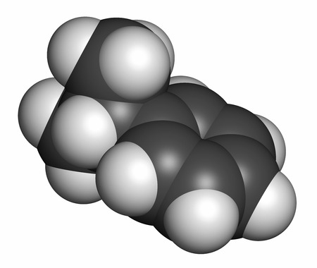 hydrocarbon: Cumene (isopropylbenzene) aromatic hydrocarbon molecule. Atoms are represented as spheres with conventional color coding: hydrogen (white), carbon (grey).