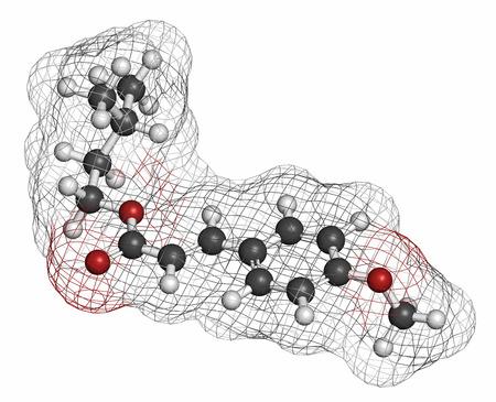 HIDROGENO: Molécula de protector solar Amiloxate (filtro UV). Los átomos se representan como esferas con codificación de colores convencionales: hidrógeno (blanco), carbón (gris), oxígeno (rojo).