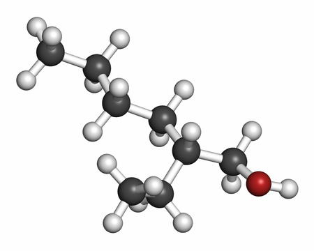 precursor: 2-ethylhexanol (2-EH) molecule. Used as solvent, fragrance component and chemical precursor. Atoms are represented as spheres with conventional color coding: hydrogen (white), carbon (grey), oxygen (red).