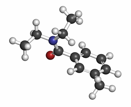 olfactory: DEET (diethyltoluamide, N,N-Diethyl-meta-toluamide) insect repellent molecule. Atoms are represented as spheres with conventional color coding: hydrogen (white), carbon (grey), oxygen (red), nitrogen (blue). Stock Photo