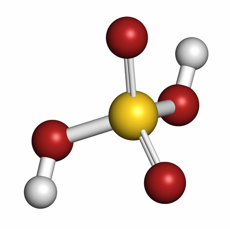sulphuric acid: Sulfuric acid (H2SO4) strong mineral acid molecule. Atoms are represented as spheres with conventional color coding: hydrogen (white), oxygen (red), sulfur (yellow). Stock Photo
