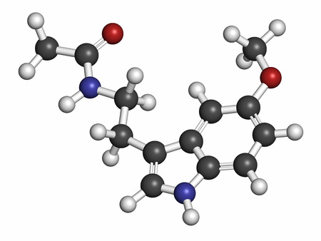pineal: Melatonin hormone molecule. In humans, it plays a role in circadian rhythm synchronization. Atoms are represented as spheres with conventional color coding: hydrogen (white), carbon (grey), oxygen (red), nitrogen (blue).