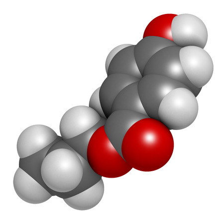 preservative: Propylparaben preservative molecule (paraben class). Atoms are represented as spheres with conventional color coding: hydrogen (white), carbon (grey), oxygen (red). Stock Photo