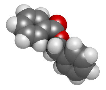 benzoic: Benzyl benzoate drug molecule. Used as acaricide, scabicide, etc.  Atoms are represented as spheres with conventional color coding: hydrogen (white), carbon (grey), oxygen (red).