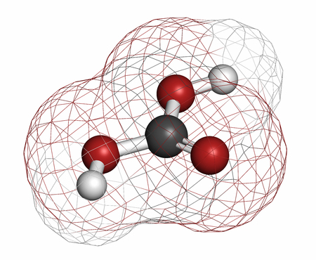 carbonic: Carbonic acid molecule. Formed when carbon dioxide is dissolved in water (carbonated water). Atoms are represented as spheres with conventional color coding: hydrogen (white), carbon (grey), oxygen (red).