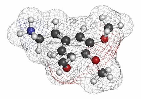 mescaline: Mescaline peyote cactus psychedelic molecule. Atoms are represented as spheres with conventional color coding: hydrogen (white), carbon (grey), oxygen (red), nitrogen (blue).