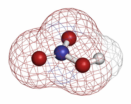 hydrogen bomb: Nitric acid (HNO3) strong mineral acid molecule. Used in production of fertilizer and explosives. Atoms are represented as spheres with conventional color coding: hydrogen (white), oxygen (red), nitrogen (blue). Stock Photo