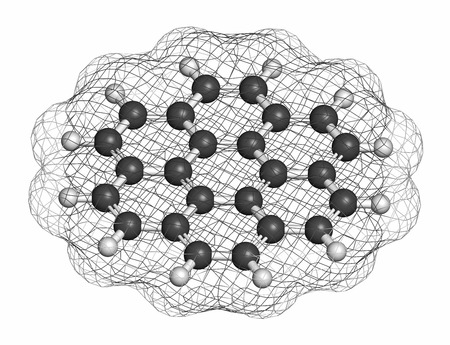 hydrocarbon: Coronene polyaromatic hydrocarbon (PAH) molecule. Atoms are represented as spheres with conventional color coding: hydrogen (white), carbon (grey). Stock Photo