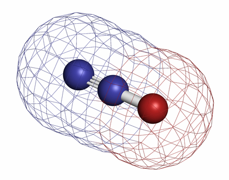 anesthetic: Nitrous oxide (NOS, laughing gas, N2O) molecule. Used in surgery as analgesic and anesthetic drug, and also as oxidizer in rocket motors and combustion engines. Atoms are represented as spheres with conventional color coding: nitrogen (blue), oxygen (red) Stock Photo