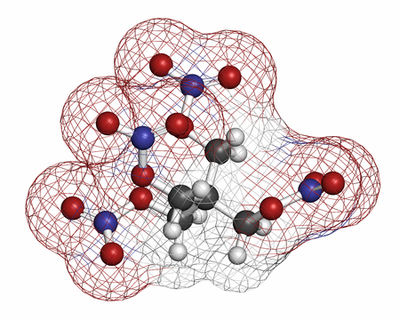 hydrogen bomb: Pentaerythritol tetranitrate (PETN) explosive molecule. Also used as angina drug (nitrate class). Atoms are represented as spheres with conventional color coding: hydrogen (white), carbon (grey), oxygen (red), nitrogen (blue). Stock Photo