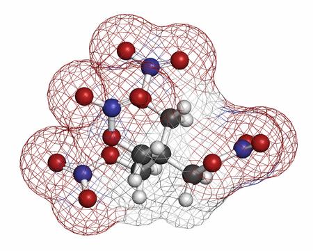 angina: Tetranitrato de pentaeritritol (PETN) mol�cula explosiva. Tambi�n se usa como f�rmaco angina de pecho (clase nitrato). Los �tomos se representan como esferas con codificaci�n de colores convencionales: hidr�geno (blanco), carbono (gris), ox�geno (rojo), nitr�geno (azul). Foto de archivo