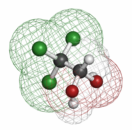 sedative: Chloral hydrate sedative and hypnotic drug molecule. Atoms are represented as spheres with conventional color coding: hydrogen (white), carbon (grey), oxygen (red), chlorine (green).