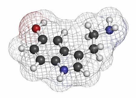 hidr�geno: Mol�cula de neurotransmisor serotonina. Los �tomos se representan como esferas con codificaci�n de colores convencionales: hidr�geno (blanco), carb�n (gris), ox�geno (rojo), nitr�geno (azul).